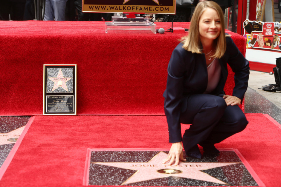 Jodie Foster seen at ceremony honoring her with a star on Hollywood Walk of Fame on Wednesday, May 4, 2016, in Los Angeles.