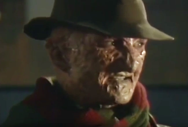 Robert Englund/Freddy Krueger being interviewed for A Nightmare on Elm Street: Dream Warriors